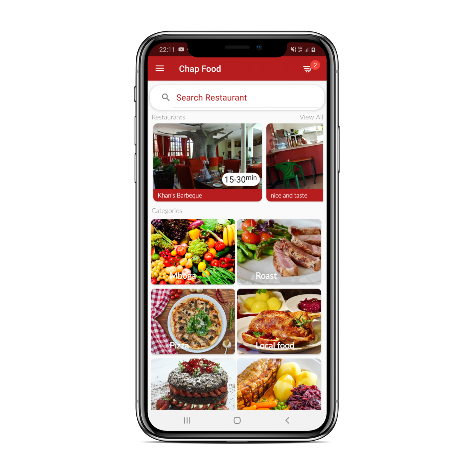 Chap food Delivery mobile app developed by Nougat technologies Tanzania